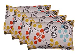 HOME IN Cotton 4-Piece Pillow Covers - 18 inches x 26 inches, Multi-Colored