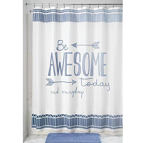 mDesign Duschvorhang mit Spruch - ideales Badzubehör - langlebige Duschgardine - mit 12 verstärkten 12 Ösen - blau/weiß
