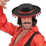 Spanien Hut Flamenco Spanischer Sombrero mit Bommeln Torero Stierkämpfer Kopfbedeckung Zorro Filzhut Spanier Matador Stoffhut Fasching Kultur Mottoparty Accessoire Karneval Kostüm Zubehör