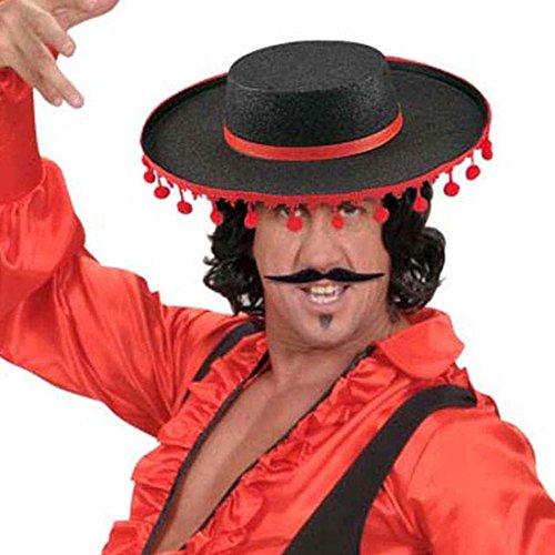 Amakando Spanien Hut Flamenco Spanischer Sombrero mit Bommeln Torero Stierkämpfer Kopfbedeckung Zorro Filzhut Spanier Matador Stoffhut Fasching Kultur Mottoparty Accessoire Karneval Kostüm Zubehör