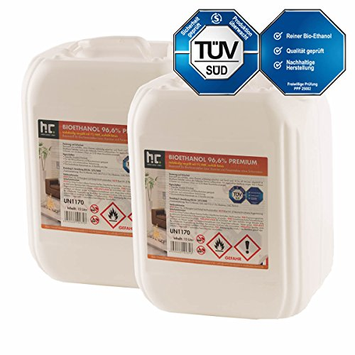 20 L Bio Ethanol Premium 96,6{afc8055e8d836c0c5d6af06cf0bac643b11f5f8d316ba3dda80b7023d7c6ee88} (2 x 10 L) für Kamin - versandkostenfrei - in zwei handlichen 10 L Kanistern - TÜV SÜD zertifiziert