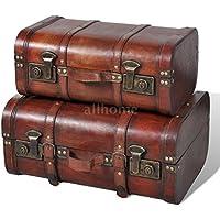 Preisvergleich für Generic Aufbewahrungskisten-Set, Vintage-Design, Holz, für Schlafzimmer, Braun