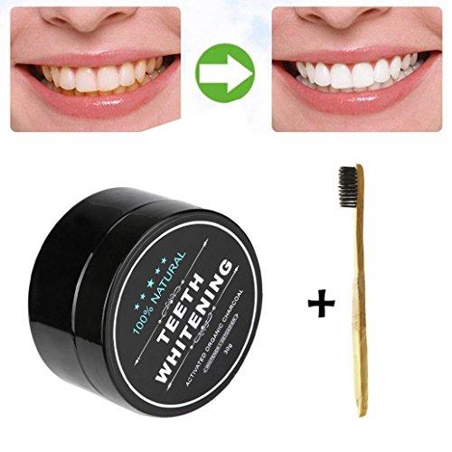 LCLrute Hohe Qualität Teeth Whitening Powder Natürliche Bio-Aktivkohle Bambus Zahnpasta (Schwarz) -