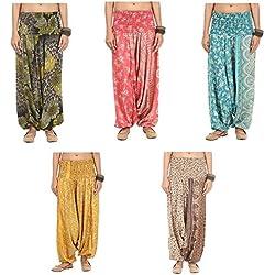 Famacart Lot Of 5pc Women's Trouser Harem Multicolored Trousers Aladdin Palazzo