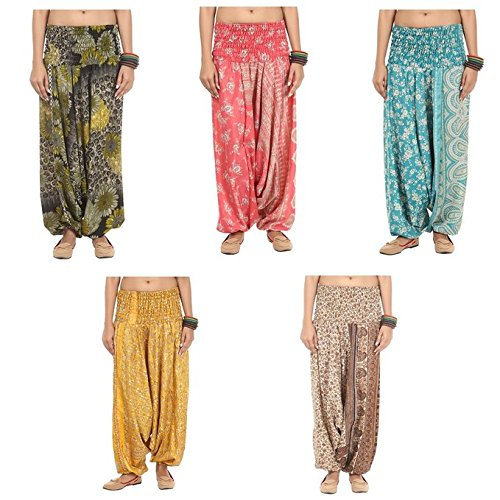 Famacart Lot Of 5pc Women's Trouser Harem Multicolored Trousers Aladdin...
