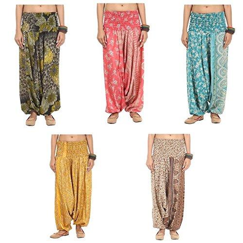 Famacart Lot Of 5pc Women's Trouser Harem Multicolored Trousers Aladdin...