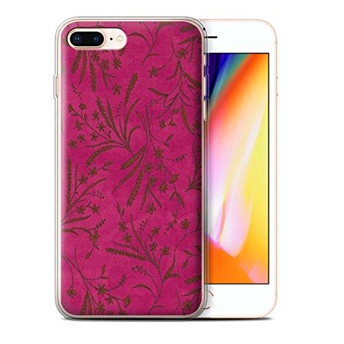 Stuff4 Gel TPU Hülle / Case für Apple iPhone 8 Plus / Rosa/Orange Muster / Weizen Blümchenmuster Kollektion Rosa/Orange