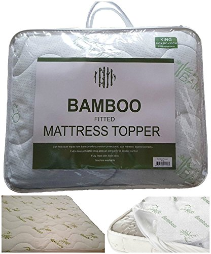 """New High Quality Extra-Deep 12"""" (30cm) BAMBOO MATTRESS TOPPER (Mattress Protector) ~ Fitted Sheet Style Hygienic & Hypoallergenic Protector ~ UK SIZES (SINGLE) 2"""