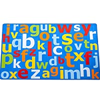 Superb Kids/Childs Rug Blue Multi Coloured Large Alphabet Educational