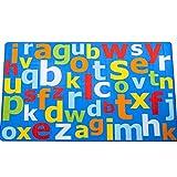 Toller Kinder-Teppich, blau mit bunten, großen Buchstaben, blau, 1m x 2m (3'3 x 6'6 approx)