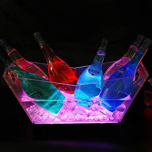 Jueven LED Eiskübel Farbwechsel Kühler Eimer - 7 Farbwechsel Lichter - Acryl - Akku - Bar, Nachtclub, Party ideal für Wein, Champagner, Cocktails, Bier