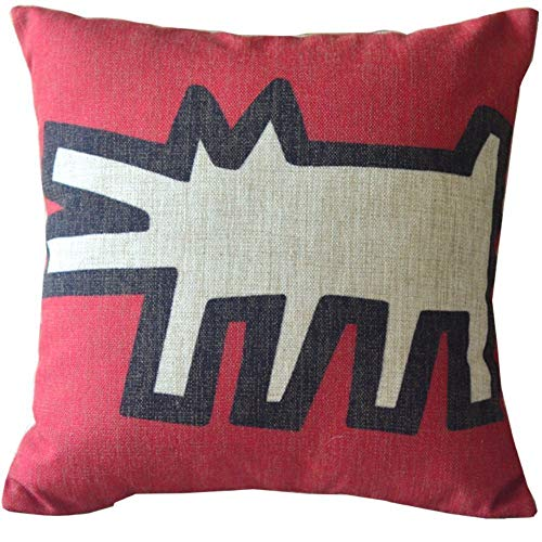 zhengpeng DNArtSaleStore 18X18 Fashion Throw Pillow Case Shell Decorative Cushion Cover Pillowcase Modern Keith Haring Creative Abstract Animal Painting Red Beige
