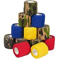 Paquete de 12 cintas autoadhesivas para veterinario de camuflaje para primeros auxilios, deportes, muñeca, tobillo en 6 colores variados de camuflaje y sólidos, 5 m x 5 yardas