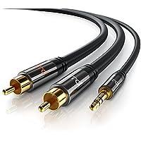 Primewire - 1m Klinke 3,5mm zu 2x Cinch Y Kabel | Metall-Stecker / vergoldet | AUX Eingänge Audio 3,5mm Klinken Stecker zu 2x Cinch / RCA Stecker | Metall-Stecker vergoldet / doppelte Schirmung