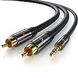 Primewire - 3m Klinke 3,5mm zu 2x Cinch Y Kabel  Metall-Stecker / vergoldet  AUX Eingänge Audio 3,5mm Klinken Stecker zu 2x Cinch / RCA Stecker  Metall-Stecker vergoldet / doppelte Schirmung
