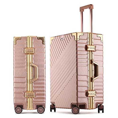 QWW Koffer Vintage Travel 37 * 23 * 51cm 4 Räder Dark Rose Gold Zahlenschloss (Gold-koffer Vintage)