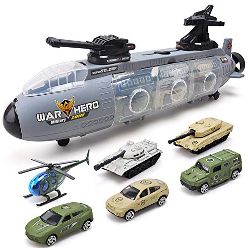 SLONG Children's Toy Gliding Submarine War Ship with alloy Car vehicle Military Tank Model child Gift, Armycar