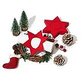 chillify - Juego de 8 servilleteros de Fieltro, Estrellas - Decoración de Mesa, Navidad y Año Nuevo - Decoración de Fiesta- Absorbentes y Lavables - 13x13x0,3cm, Rojo