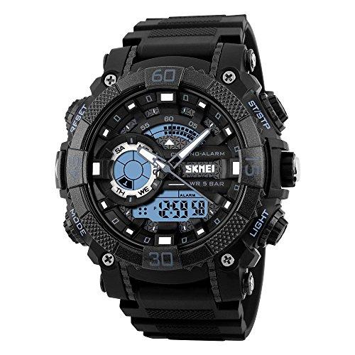 Herren Analog Quarz Uhr Wasserdicht LED Digitaluhr Militär Tactical Outdoor Sportuhr Doppel Zeit Modische Plastik Lünette mit Silikon Band Armbanduhr EL Licht Uhr für Männer Jugen (Schwarz)