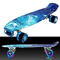 WeSkate Complete Mini Cruiser Skateboard 22 inch 2 inch Retro Plastic Skate Board and 4 Soft PU Wheels for Adult Kids Beginners Girls Boys