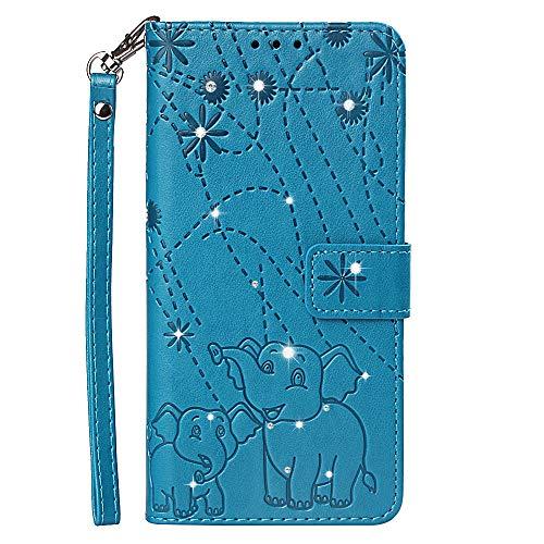 Phcases Funda Cuero Cubierta de Teléfono para Xiaomi Redmi 5 Plus Premium con Diseño con Relieve con Ranuras para Tarjetas, de Cierre Magnético(Azul).