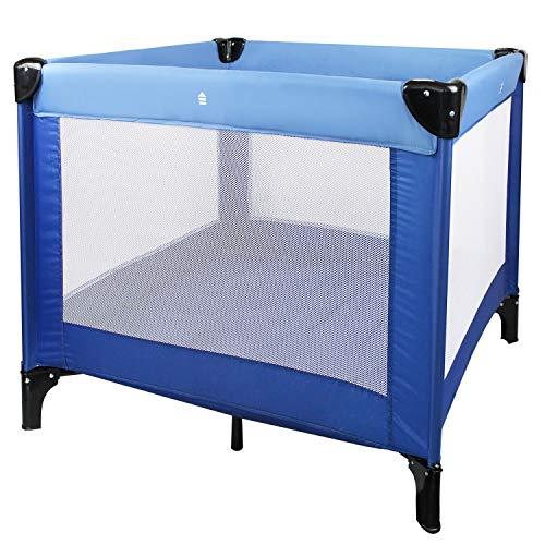 Leogreen - Reisebett, Babybett, CE-Standard, 93 x 93 x 76 cm, Himmelblau/Marineblau, Maximale Belastbarkeit: 25 kg -