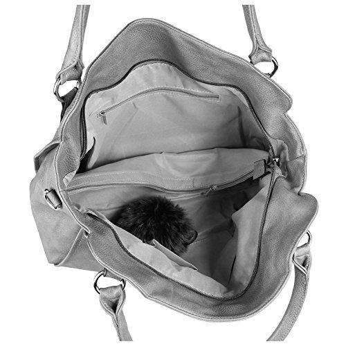 OBC DAMEN TASCHE HANDTASCHE Schultertasche Shopper Damentasche Umhängetasche Henkeltasche Beuteltasche Hobo Bag Crossover Schwarz Grau