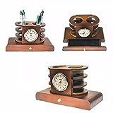 Redonda de madera tradicional chimenea o reloj de mesa con cajón caja nueva