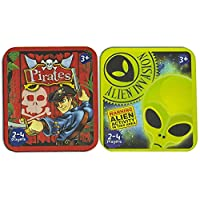 Boys Gifts Snap Card Game in a Tin - Brain Teaser Educational Game Toy - First Cards Games Novelty Design Pirates Alien - Pocket Money Boy Girl Kids Child Children - Memory Table Games