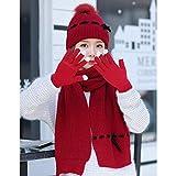 CHAXIA Mütze Schal Handschuh Sets Verdicken Warm Halten Gemütlich Süss Weich Handschuhe Können Touchscreen 3-teiliges Set , 6 Farben (Farbe : Red)