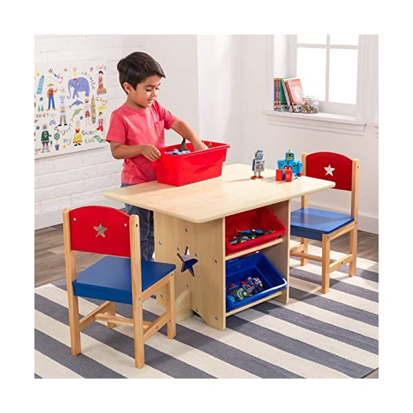 KidKraft 26912 Star Wooden Table & 2 Chair Set with storage bins, kids children's playroom / bedroom furniture - Red & Blue KidKraft Four convenient storage bins Bins can be reached from either side of table Star-shaped holes on table and chairs 7