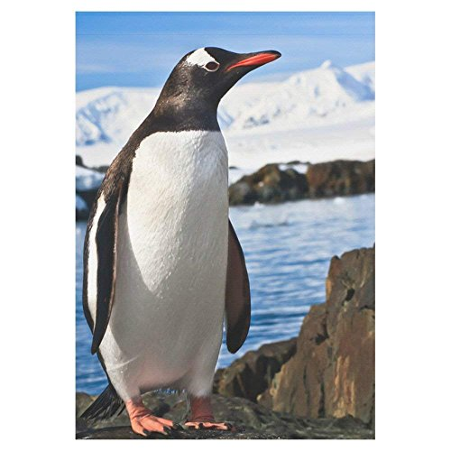 Penguins on Coast Polyester Garden Flag Outdoor Banner, Antarctica Mountains Decorative Large House Flags for Wedding Party Yard Home Decor 12.5x18 inches