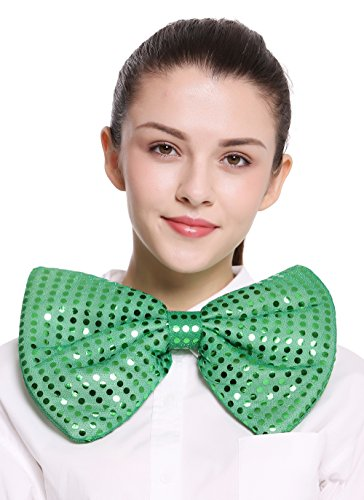 DRESS ME UP - BB-041-green XXL Fliege Bowtie Binder riesig grün Pailletten Clown Zirkus Karneval Irland St. Patrick's (Varieté Zirkus Kostüme)