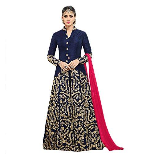 Ethnic Empire Women's Banglory silk Semi Stitch Salwar Suit (Ethnic_ER110116_Blue_Free Size)