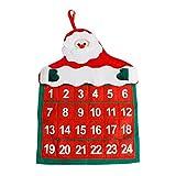 ODJOY-FAN Weihnachten Kalender Anhänger Dekoration Weihnachten Dekor Weihnachtsmann Kalender Hotel Empfangshalle Familie Weihnachtskalender Pendant 41×29cm(Rot,1 PC)