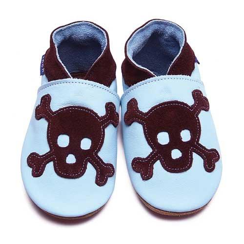 Inch Blue Chaussures Bébé Souples - Skull - Bleu ciel / Chocolat - T 24-25 cm