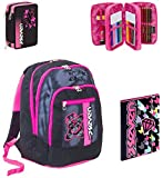 Seven Zaino scuola advanced Color GIRL Nero + ASTUCCIO + Cartellina A4