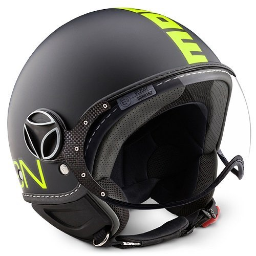 Helm Jet Momodesign Fighter Neon schwarz matt Decal gelb fluo Größe ML (Fighter Jet Helm)