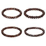 Flongo Armband Gebetskette Armkette, 4 Stück Holz Perle Perlen Kugel Gebetskette Armband Kette Dunkelbraun Surfer Wickeln für Damen Herren Accessoires Schmuckset