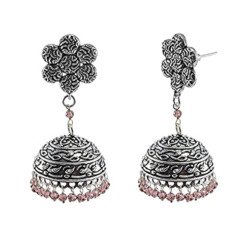Indian Classical Traditional Vintage Flower Jhumkis With Amethyst Crystal Beads -Crafted By Silvestoo India PG-111064
