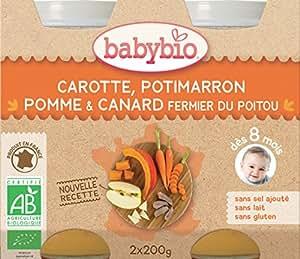 Babybio Petit Pot Carotte Potimarron Pomme/Canard Fermier du Poitou 8+ Mois 400 g