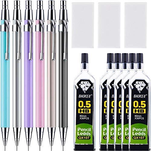 15 Stücke Druckbleistift Set, Verschiedene Farben, 6 Stück Druckbleistifte und 6 Rohr Bleimine mit 3 Packung Radiergummis für Büro und Schule (0.5 mm)