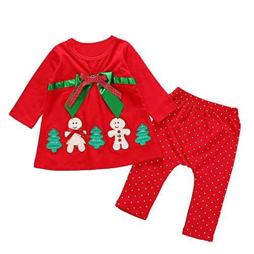Beginfu Weihnachten Kleinkind Kinder Baby Mädchen Herbst und Winter Langarm Schneemann Weihnachtsbaum Druck Cartoon Print Tops + Wellenpunkt Hosen Weihnachten Outfits 2pcNiedlich Babydoll