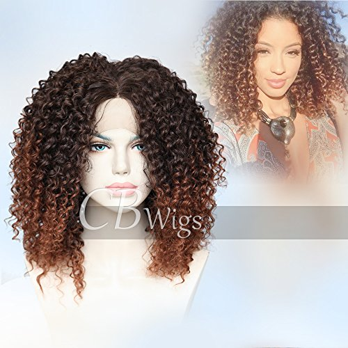Cbwigs Afro Kinky Curly Two Tone Ombre Brown Synthetic Lace Front Wigs Long Fluffy Heat Resistant Fiber Hair Full Wig for African American Women 16 inch (Lady Perücke First)