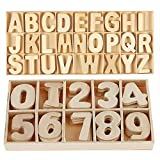 SIMUER Holzbuchstaben Großbuchstaben, 216Pcs Alphabet Und Nummer Buchstaben aus Holz, Kid Holzspielzeug Lernspielzeug Handwerk Holz Buchstaben Für Kunsthandwerk DIY