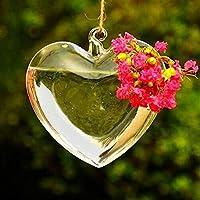 Bluelover Cuore forma pensili vetro vaso giardino piante idroponiche contenitore