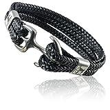 ETAVI® Lederarmband für Männer in Schwarz 21cm lang aus Edelstahl Silber- Anker-Armband für Herren mit Geschenkbox Schmuck (21)