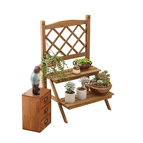 ZWD Retro- Blumen-Stand, festes Holz-Multifunktionsgestell-Sukkulenten-Topfpflanzen-Dekorations-Schlafzimmer-Badezimmer-Raum-Eingangs-Balkon 47 * 36 * 75CM Haushaltswaren ()