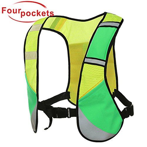 X-Cool Joggen Reflektierende Weste Warnweste Radfahren Marathon einstellbare elastische Sicherheitsweste Hohe Sichtbarkeit mit Vier Taschen Sicherheits zubehör für Erwachsene und Kinder (Grün)