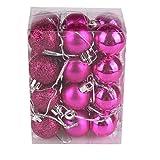 BURFLY 30mm Weihnachtsbaum Kugel Flitter hängende Home Party Ornament Dekor 24 STÜCKE (Pink)